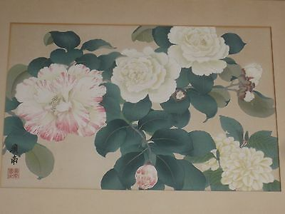 Antique Japanese Chinese Floral Woodblock Print