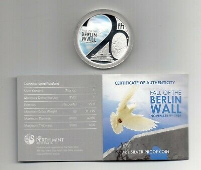 TUVALU Fall of the BERLIN WALL monnaie 2009 argent 1 once 1 Dollar BE Perth mint