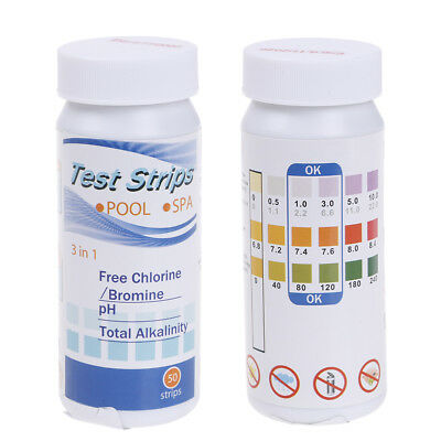 3 in1 50strip swimming pool spa water chlorine ph test strips alkaline testing*t
