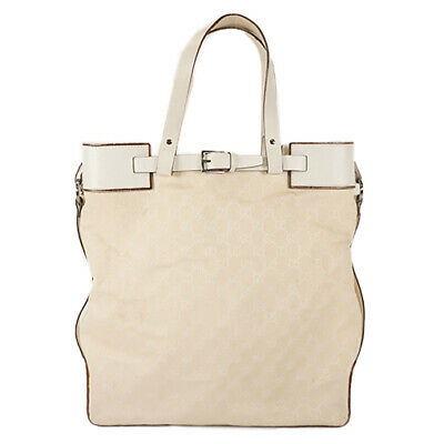 3becebf23ca0 Auth Gucci Tote Bag GG Canvas Ivory Silver