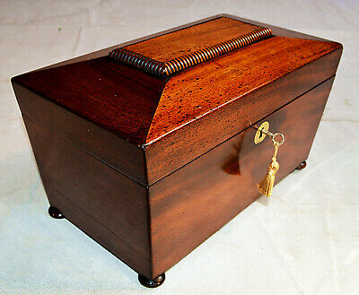 Mid 19th Century Sarcophagus shaped Tea Caddy with Key and Mixing Bowl