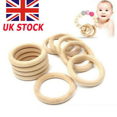 20Pcs Natural Wooden Baby Kids Teether Ring Unfinished Wood Jewellery Craft New