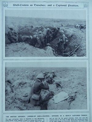 1916 British Somme Joining Shell Holes, Observing From Captured Trench Wwi Ww1