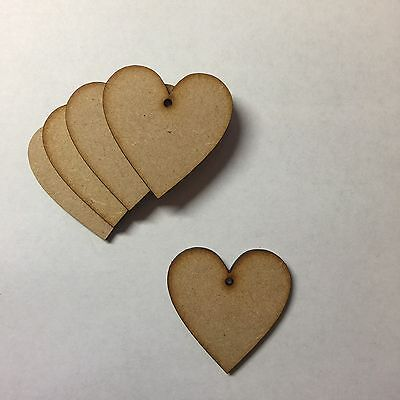 Wooden 50mm Hearts 3mm thick mdf blank craft shapes signs with two holes 5cm
