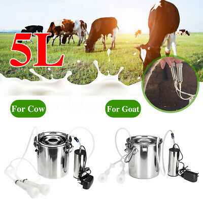 5L Electric Farm Milking Machine Stainless Steel Cow Milker Tank Double Heads