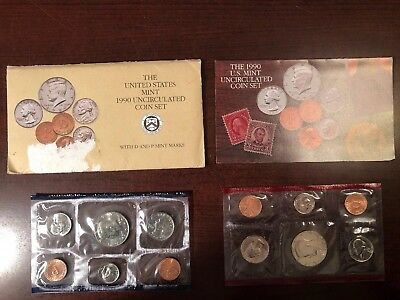 1990 Annual US Mint P and D Uncirculated 10 Coin Set Complete BU