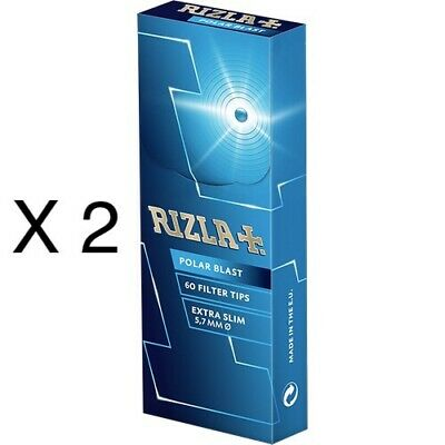 2 X 60 Filter Tips Rizla Polar Blast Crushball Extra Slim Filter Tips 5.7Mm New