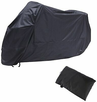 AKORD Motorcycle Waterproof UV Protective Cover with Storage Bag, Black, Size XL