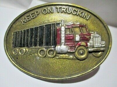 Belt Buckle Large Raised Design Keep On Truckin Truck Brass Enamel Vintage