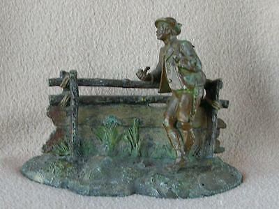 "Antique Continental Austrian Cold Painted Bronze Spelter Figure ""man Of Tyrol"""