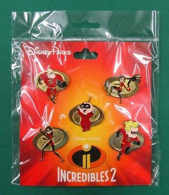 Disney Park Pin Pixar THE INCREDIBLES 2 Booster Trading Set w/ 5 Pins *NEW*