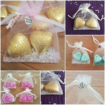 25 wedding party favours hen / baby shower gifts.Foiled Chocolate hearts organza