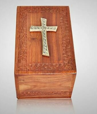 Large/Adult 200 Cubic Inch Rosewood Brass Cross Tower Funeral Cremation Urn
