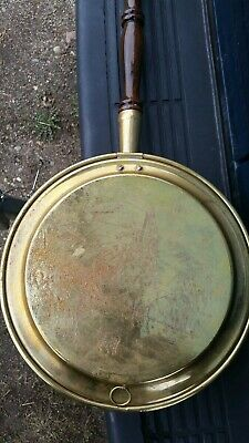 Vintage Brass & Copper Changing Horses Bed Warmer with wood handle