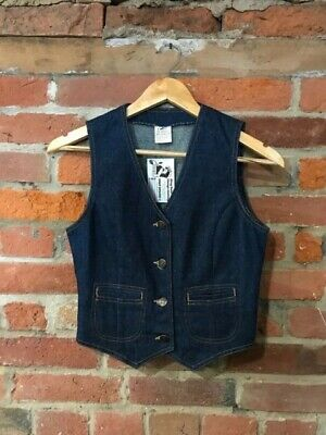 VINTAGE 1970s CHILDRENS GIRLS BLUE DENIM WAISTCOAT VEST SIZE 12 13 YRS (vb428)