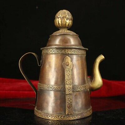China Tibet Temple collection old Pure copper Handmade Butter teapot