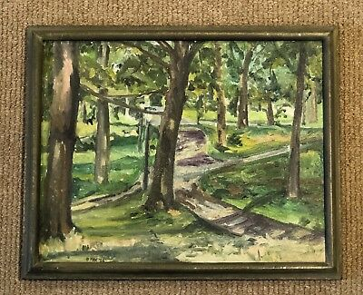 "Vintage Signed Oil Painting Canvas Brooklyn New York Prospect Park 14"" x 11"""