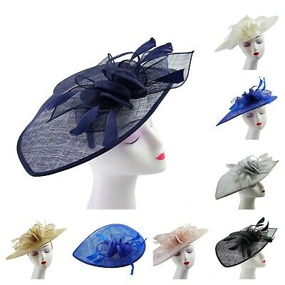 Large Elegant Feather Hair Hat Fascinator Headband Clip Wedding Royal Ascot Race