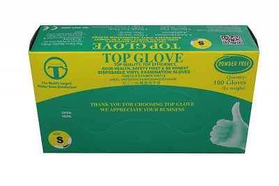 Small Top Glove Lightly Powdered Disposable Latex Gloves AQL 1.5 Box of 100
