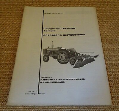 Ransomes Cropguard CLEANROW Sprayer operators instructions