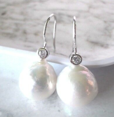 White Freshwater Baroque Pearl Sterling Silver Stone Set Earrings -Large Pearls