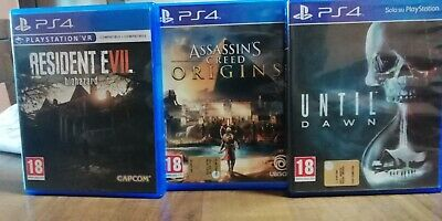 Resident Evil Biohazard ps4 + Assassins creed ps4 + Until Dawn ps4