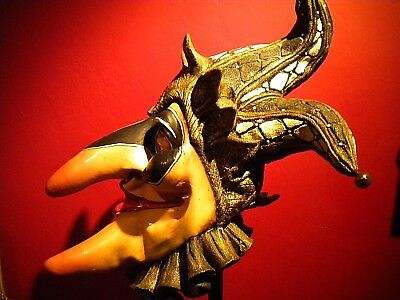 "Antique Lg. 24""x 27"" Jester Madi-Gras Mask w/Stand - illusive Concepts"