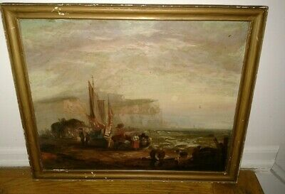 Antique 1800s 19th Continental school Dutch ? painting fisherman boats shore sea