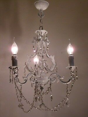 Beautiful Vintage Large French SOLID BRONZE Painted Crystal Cage Chandelier