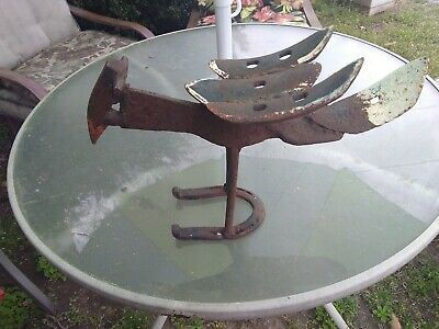Iron Bird Sculpture Large Antique Old Rustic Vintage Tools Garden Outsider Art