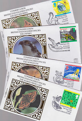 Great Britain 1992 FDC Small Benham Silk Covers Conservation Endangered Species