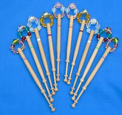 H4 *  5 Prs (10) Lemon Wood  Bobbins Spangled Quality Beads Into Matching Pairs