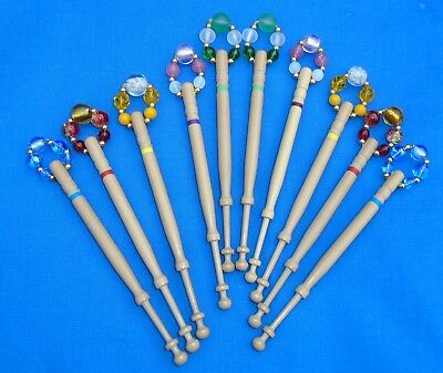 H2 * . 5 Prs (10) Lemon Wood  Bobbins Spangled Quality Beads Into Matching Pairs