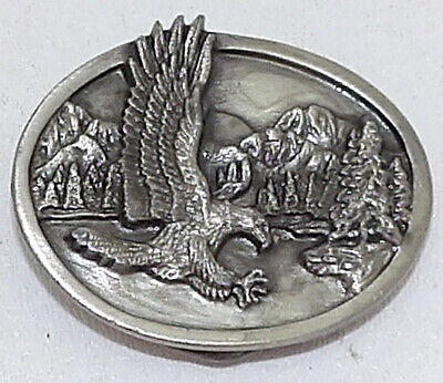 Vintage Belt Buckle Siskiyou 1985 Small Oval Eagle Heavy Brass Buckle