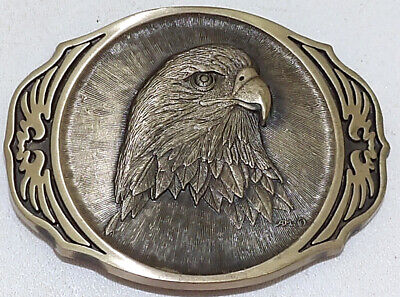 Vintage Belt Buckle Award Design Medals Bald Eagle Oval Heavy Solid Brass