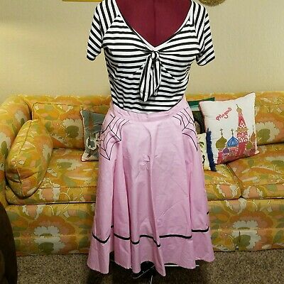 da98a91e18 Hell Bunny Plus Size Pink Muffet Spider Rockabilly Halloween Gothic Swing  Skirt