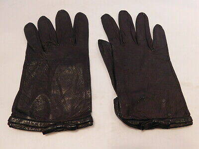**Designer Ladies Brown  Leather Everyday Gloves Unlined Size 6.5