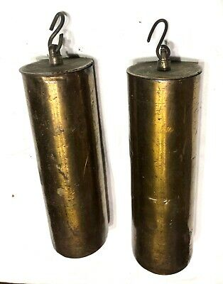 Set Of Two Pair Antique Long Case Grandfather Clock Brass Cased Weights