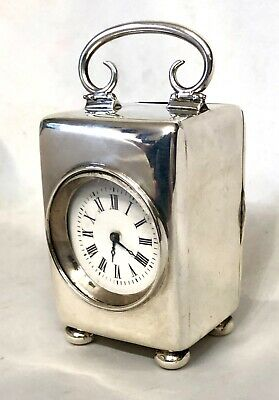 Antique English STERLING SILVER Victorian Travelling Clock BIRMINGHAM 1900