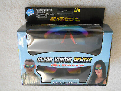 5480a0d0b4 2 PK CLEAR Vision Deluxe Tactical Sunglasses Anti Glare Night Vision ...