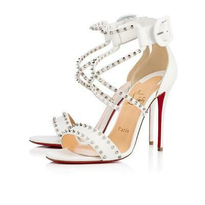 newest 69911 f7e23 NEW CHRISTIAN LOUBOUTIN Choca Spikes 100 High White Leather Sandals Heel  Size 39