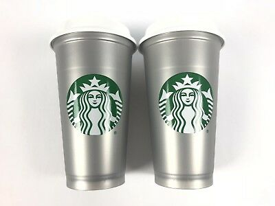 Starbucks Reusable Silver Shimmer Cup Set Of Two 16 Oz 2018 Limited Edition NEW