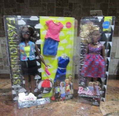 Lot 2 Barbie Fashionistas Dolls Emoji Fun 39 & Zig & Zag 57 Curvy Free Shipping