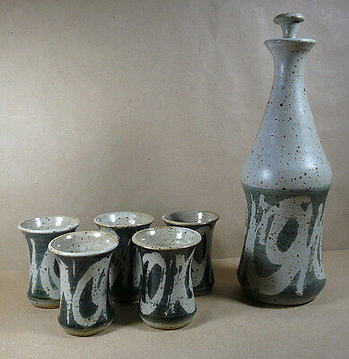 Havill Studio Art Pottery Stoneware Decanter & 5 Cups Blue Gray New York USA