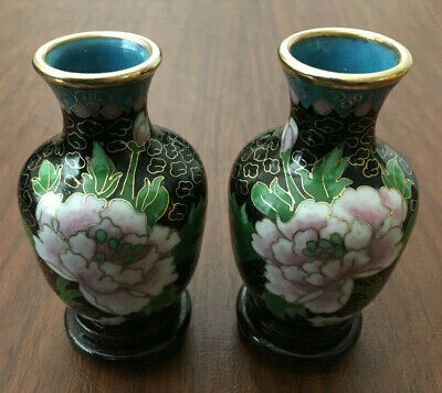 SET of 2 Chinese Cloisonne Vase with Wood Stand Copper Bronze Brass Enamel Peony