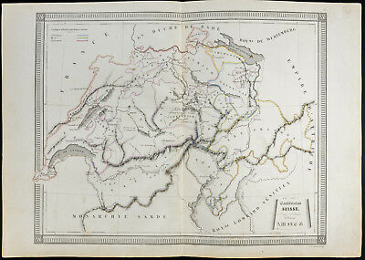 1840/50 Antique Old Map of the Confederate Swiss