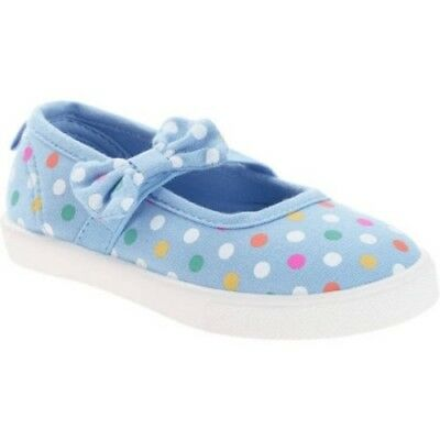 Faded Glory Toddler Girls Blue Dot Mary Jane Shoes With Bow Size 9 NEW