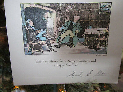 Vtg Art Deco Genuine Steel Engraved Etching Christmas Card OLD FRIENDS TO TRUST