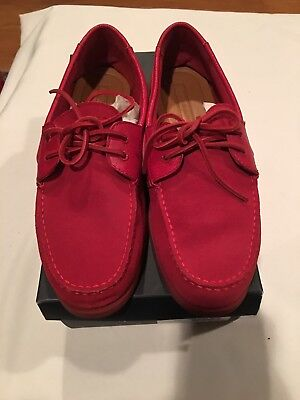 881b9dff9 Tommy Hilfiger Bowman Red Suede Lace Up Casual Fashion Boat Shoes Mens Size  11