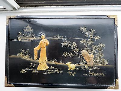 Vintage Chinese Black Lacquer Wood Jewelry Box w Brass Corners, Hinges & Padlock